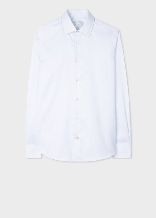 폴 스미스 Paul Smith Mens Slim-Fit White Pinstripe Cotton Twill Shirt