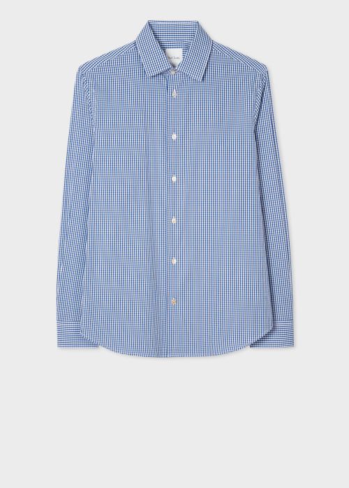 폴 스미스 Paul Smith Mens Slim-Fit Blue Gingham Cotton-Blend Shirt