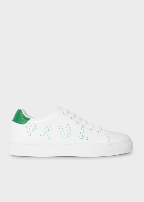 Mens White Leather Basso Trainers With Green 폴 스미스 Paul Smith Embroidery