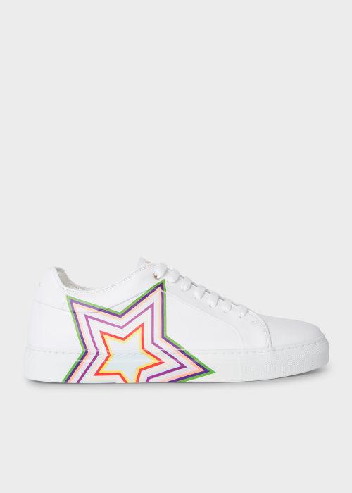 폴 스미스 Paul Smith Mens White Leather Star Print Basso Trainers