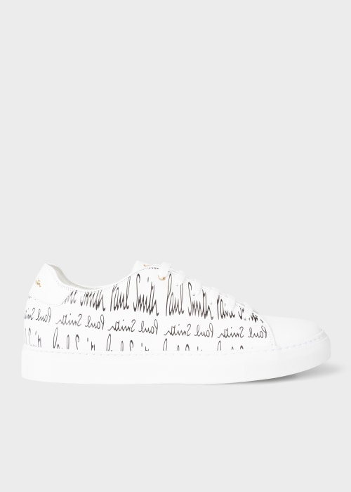 Mens White Leather Basso Trainers With 폴 스미스 Paul Smith Signature Print