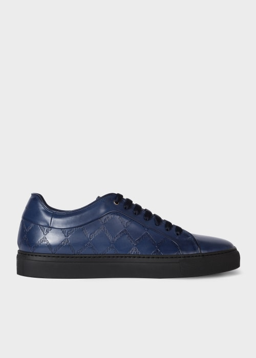 Mens Navy Leather Basso Trainers With 폴 스미스 Paul Smith Emboss