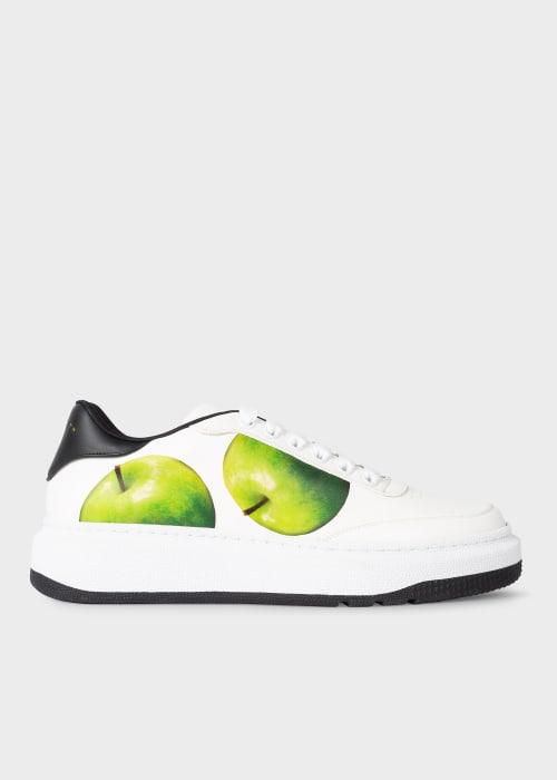 폴 스미스 Paul Smith Mens White Leather Green Apple Print Hackney Trainers