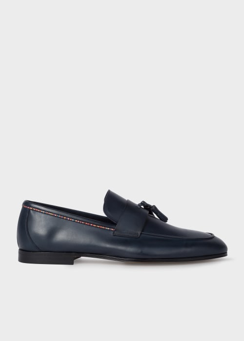 폴 스미스 Paul Smith Mens Navy Leather Hilton Loafers