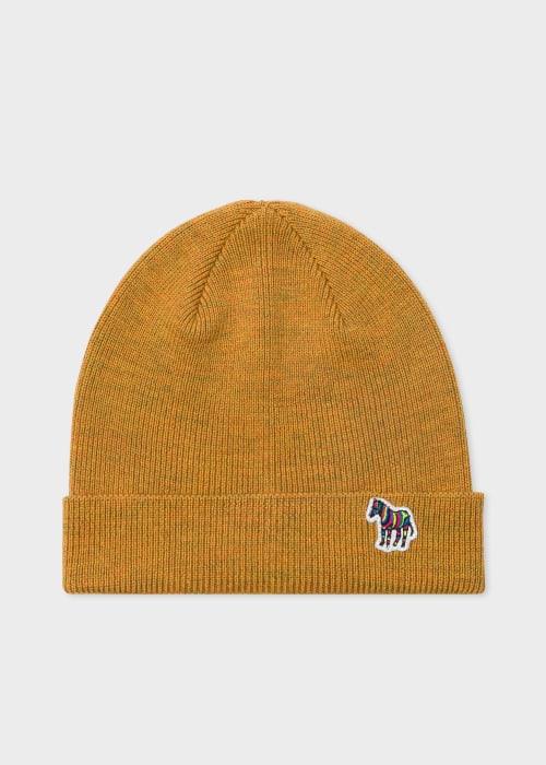 폴 스미스 Paul Smith Mens Mustard Yellow Zebra Logo Ribbed Lambswool Beanie Hat