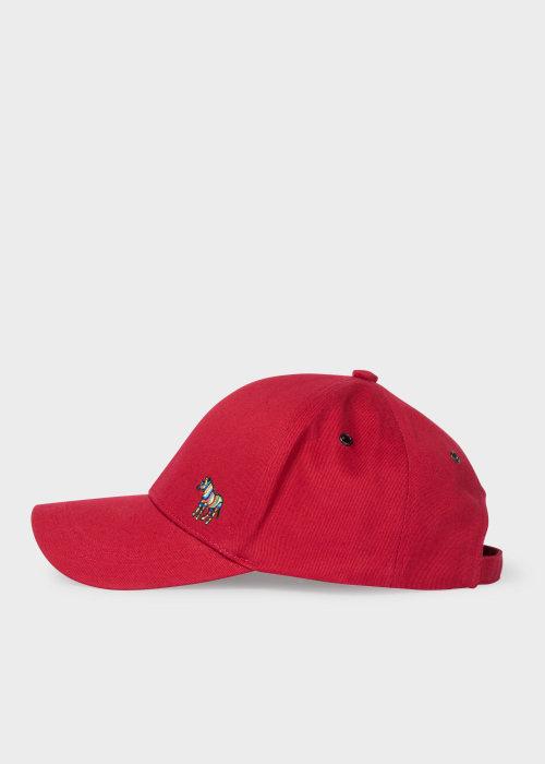 폴 스미스 Paul Smith Mens Red Cotton Zebra Logo Baseball Cap