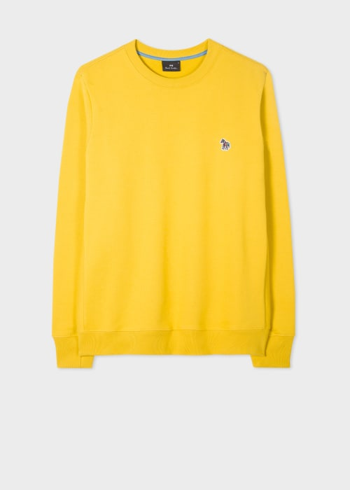 폴 스미스 Paul Smith Mens Yellow Organic-Cotton Embroidered Zebra Logo Sweatshirt