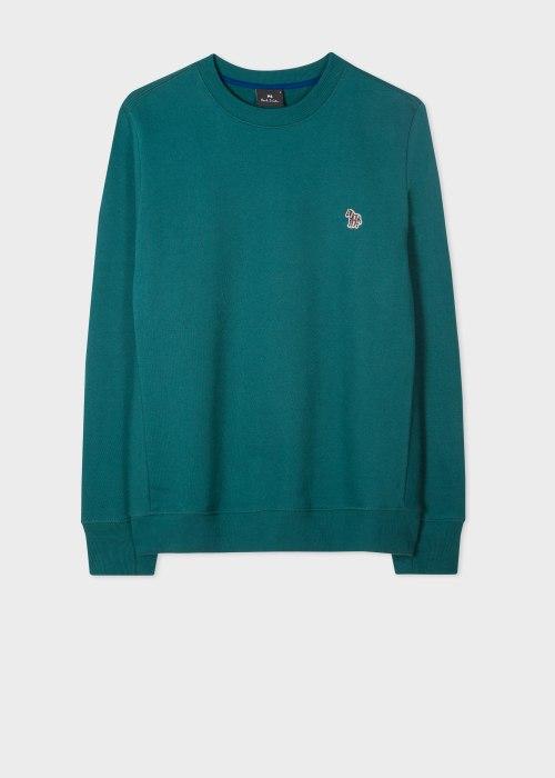 폴 스미스 Paul Smith Mens Petrol Green Organic-Cotton Embroidered Zebra Logo Sweatshirt