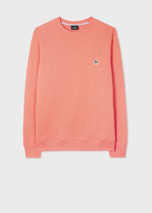 폴 스미스 Paul Smith Mens Washed Coral Organic-Cotton Embroidered Zebra Logo Sweatshirt
