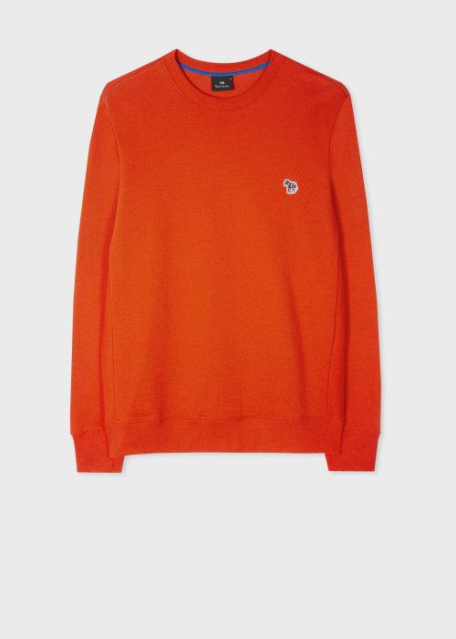 폴 스미스 Paul Smith Mens Scarlet Red Organic-Cotton Embroidered Zebra Logo Sweatshirt