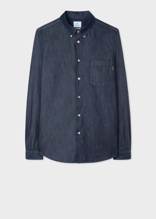 폴 스미스 Paul Smith Mens Tailored-Fit Indigo Denim Shirt