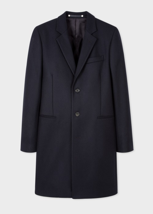 폴 스미스 Paul Smith Mens Navy Wool And Cashmere-Blend Epsom Coat