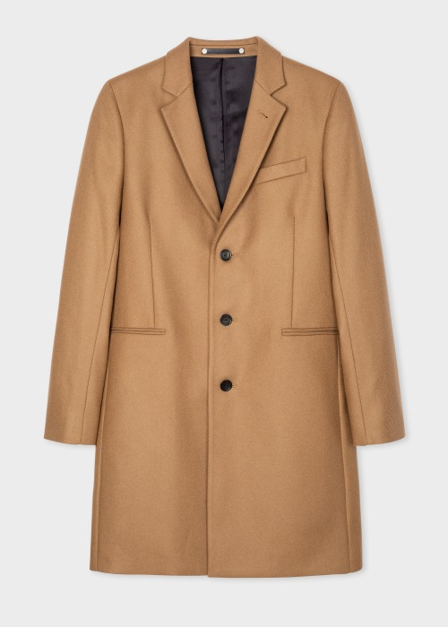 폴 스미스 Paul Smith Mens Camel Wool And Cashmere-Blend Epsom Coat