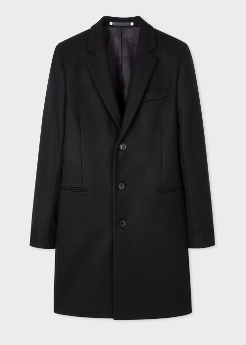 폴 스미스 Paul Smith Mens Black Wool And Cashmere-Blend Epsom Coat