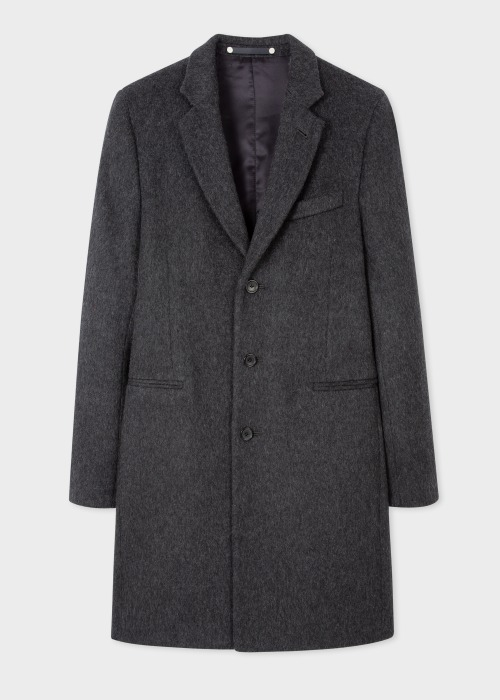 폴 스미스 Paul Smith Mens Dark Grey Wool-Blend Epsom Coat