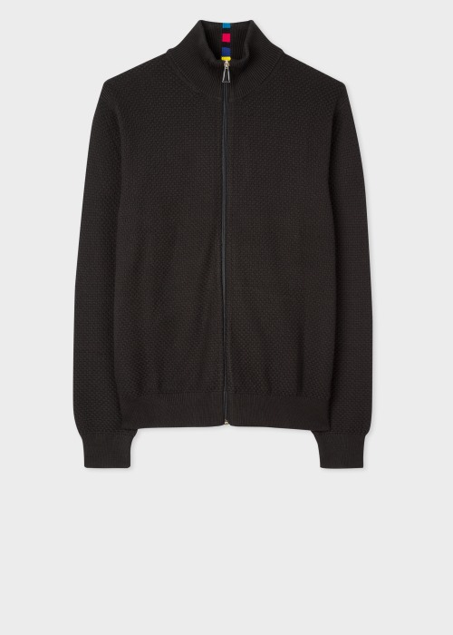 폴 스미스 Paul Smith Mens Black Cotton-Blend Zip Cardigan