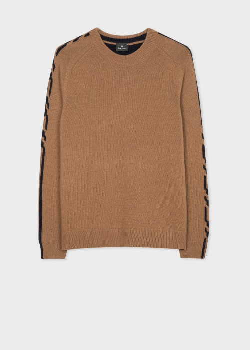폴 스미스 Paul Smith Mens Tan Contrast-Panel Wool-Blend Sweater