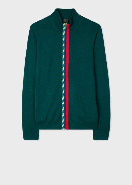 폴 스미스 Paul Smith Mens Dark Green Merino Wool Zip-Through Cardigan With Rope Trims
