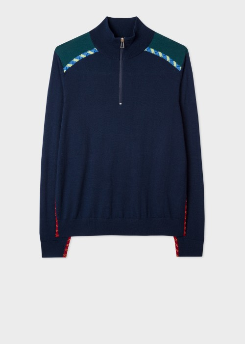 폴 스미스 Paul Smith Mens Dark Navy Merino Zip-Neck Sweater With Rope Trims