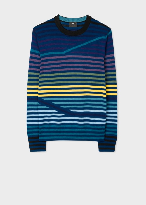폴 스미스 Paul Smith Mens Navy Striped Merino-Wool Sweater