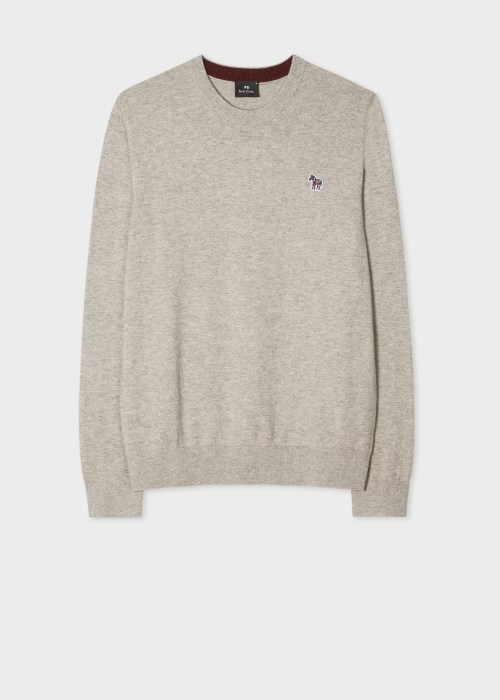 폴 스미스 Paul Smith Mens Stone Zebra Logo Cotton-Blend Sweater
