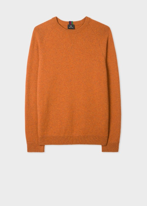폴 스미스 Paul Smith Mens Orange Merino Raglan Sleeve Sweater