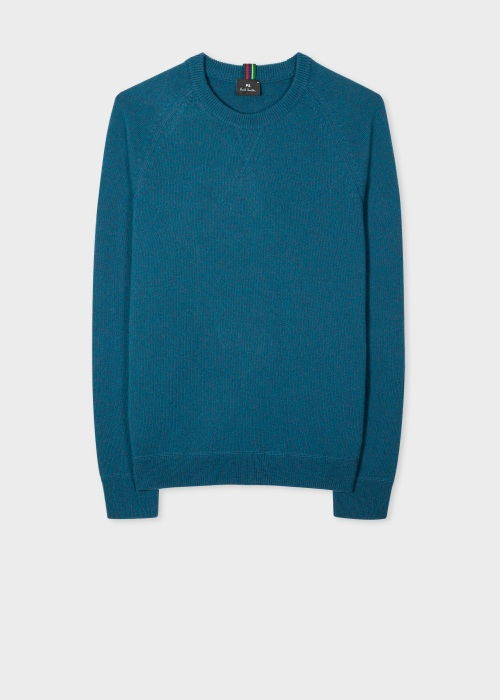 폴 스미스 Paul Smith Mens Petrol Blue Merino Raglan Sleeve Sweater
