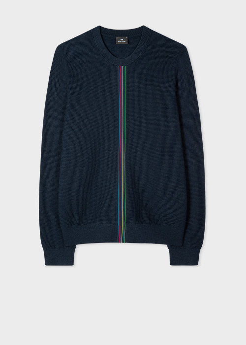 폴 스미스 Paul Smith Mens Navy Waffle-Knit Sports Stripe Sweater
