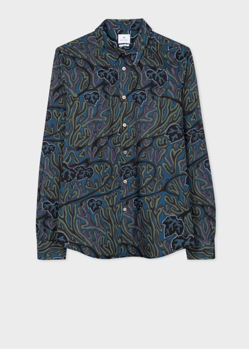 폴 스미스 Paul Smith Mens Tailored-Fit Petrol Climbing Ivy Lyocell Shirt
