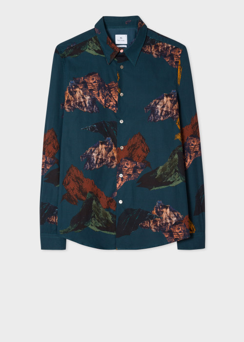 폴 스미스 Paul Smith Mens Tailored-Fit Dark Navy Mountain Print Cotton Shirt