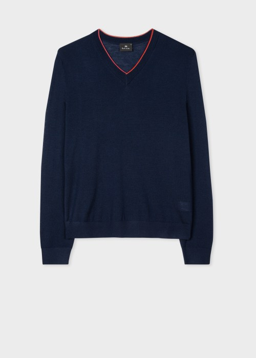 폴 스미스 Paul Smith Mens Navy Merino Wool-Blend V-Neck Sweater