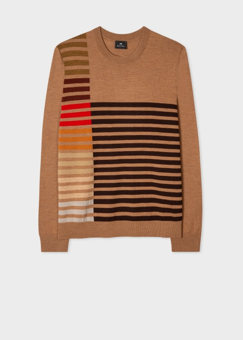 폴 스미스 Paul Smith Mens Tan Merino Wool Sweater With Stripe Detail