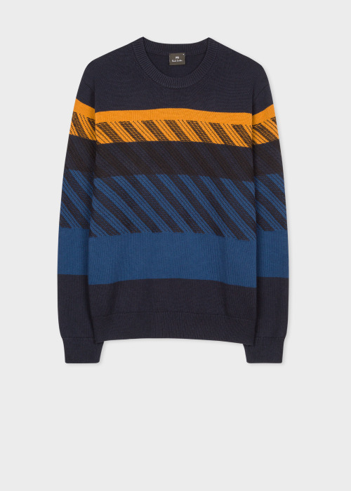 폴 스미스 Paul Smith Mens Navy Wool And Cotton-Blend Contrast Stitch Sweater