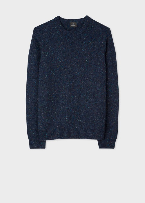 폴 스미스 Paul Smith Mens Navy Flecked Wool-Blend Sweater