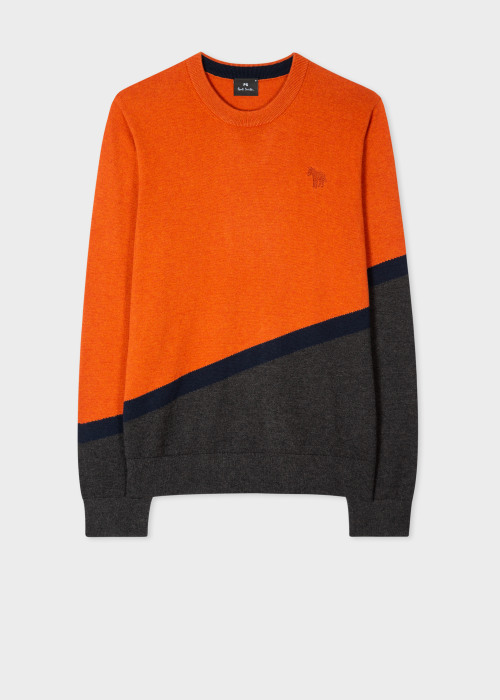 폴 스미스 Paul Smith Mens Orange And Grey Cotton-Blend Zebra Sweater