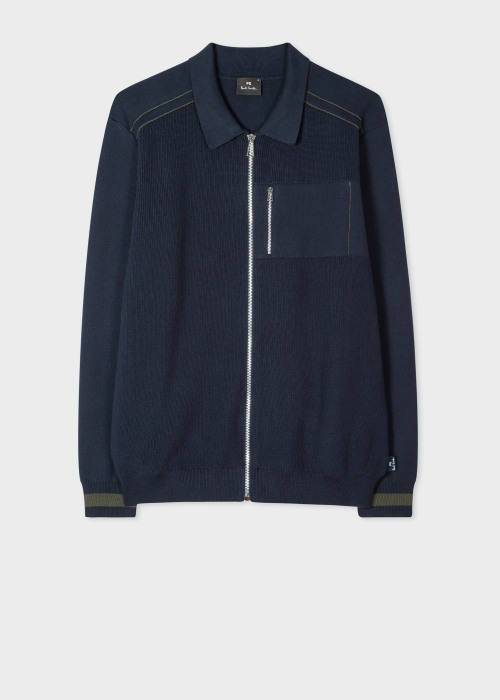 폴 스미스 Paul Smith Mens Navy Collared Cotton Zip Cardigan
