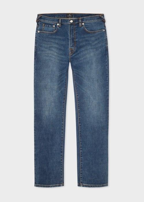 폴 스미스 Paul Smith Mens Slim-Standard Antique-Wash Crosshatch Stretch Jeans
