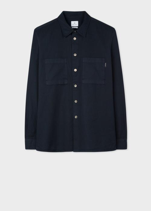 폴 스미스 Paul Smith Mens Navy Classic-Fit Garment-Dyed Cotton Shirt