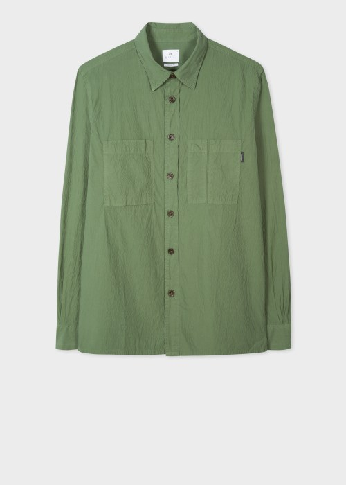 폴 스미스 Paul Smith Mens Khaki Classic-Fit Seersucker Shirt