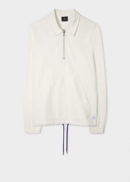 폴 스미스 Paul Smith Mens Cream Recycled Cotton-Blend Quarter-Zip Sweatshirt