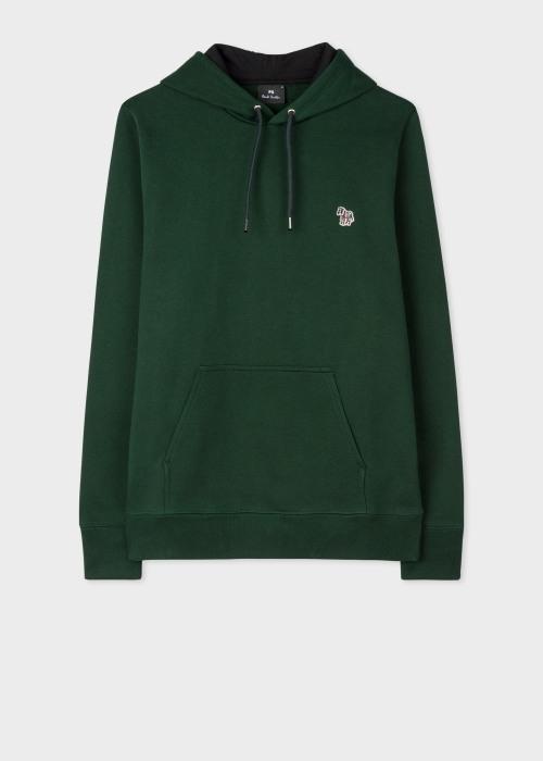 폴 스미스 Paul Smith Mens Dark Green Organic Cotton Zebra Logo Hoodie
