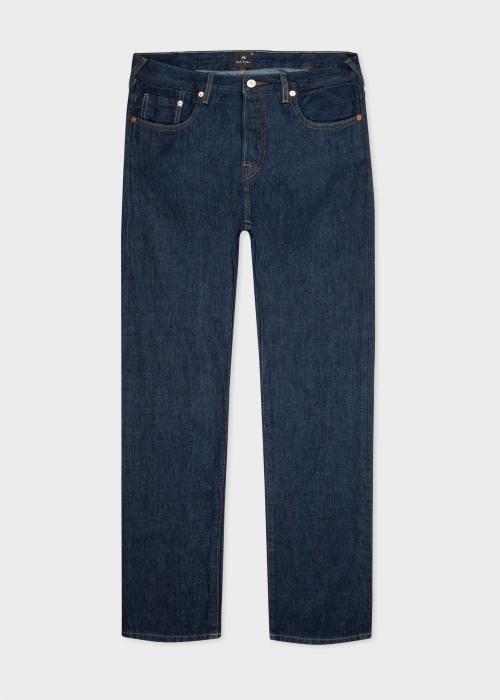 폴 스미스 Paul Smith Mens Tapered-Fit Indigo Cone Red Selvedge Denim Jeans