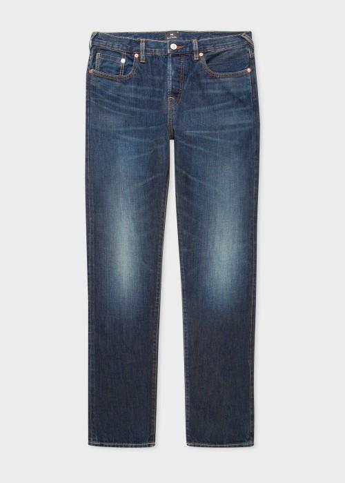 폴 스미스 Paul Smith Mens Tapered-Fit Dark-Wash Cone Red Selvedge Jeans