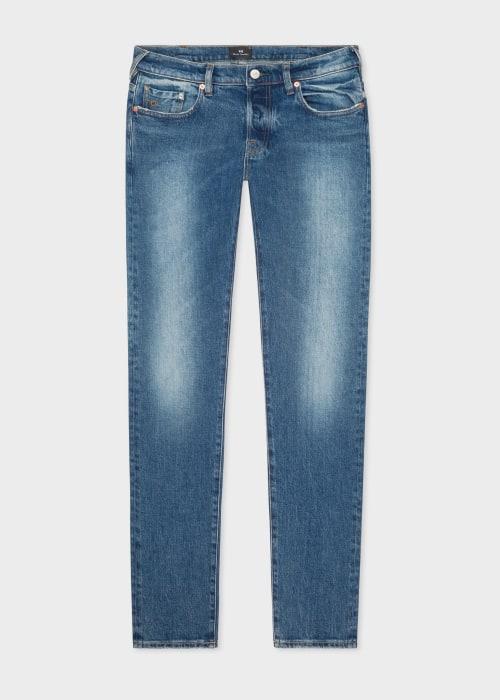 폴 스미스 Paul Smith Mens Tapered-Fit Antique-Wash Organic Western Twill Jeans