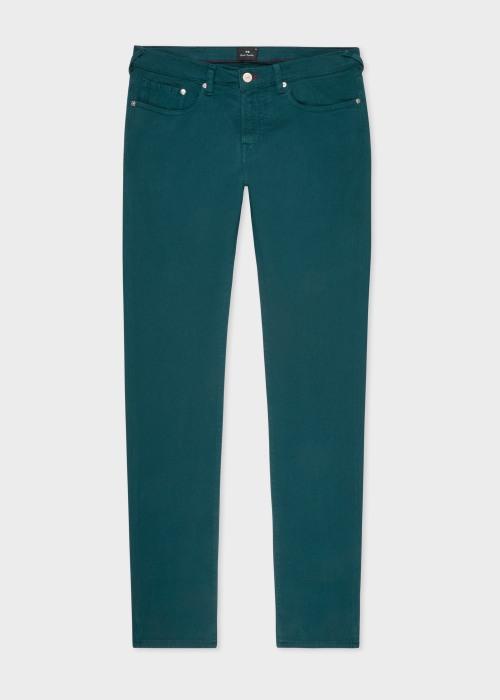 폴 스미스 Paul Smith Mens Tapered-Fit Teal Garment-Dye Jeans
