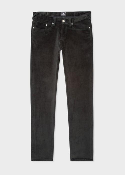 폴 스미스 Paul Smith Mens Tapered-Fit Dark Green Corduroy Trousers