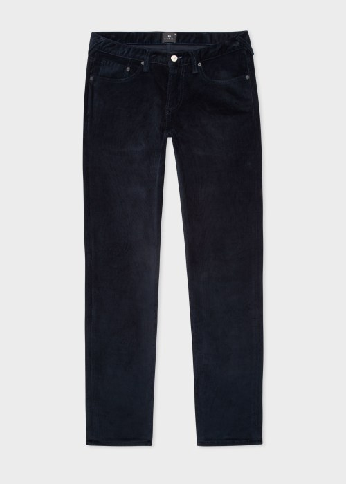 폴 스미스 Paul Smith Mens Tapered-Fit Dark Navy Corduroy Five Pocket Trousers