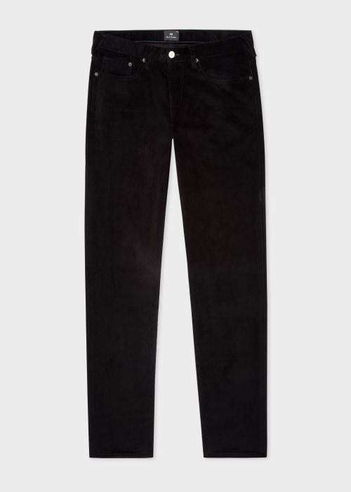 폴 스미스 Paul Smith Mens Tapered-Fit Black Corduroy Five Pocket Trousers