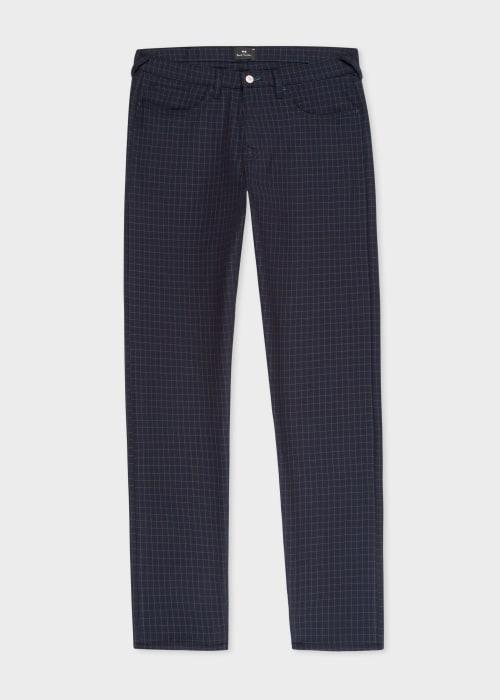 폴 스미스 Paul Smith Mens Tapered-Fit Navy Mini-Check Five-Pocket Trousers