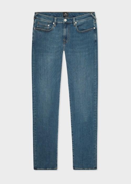 폴 스미스 Paul Smith Mens Tapered-Fit Mid-Wash Blue/Black Reflex Jeans